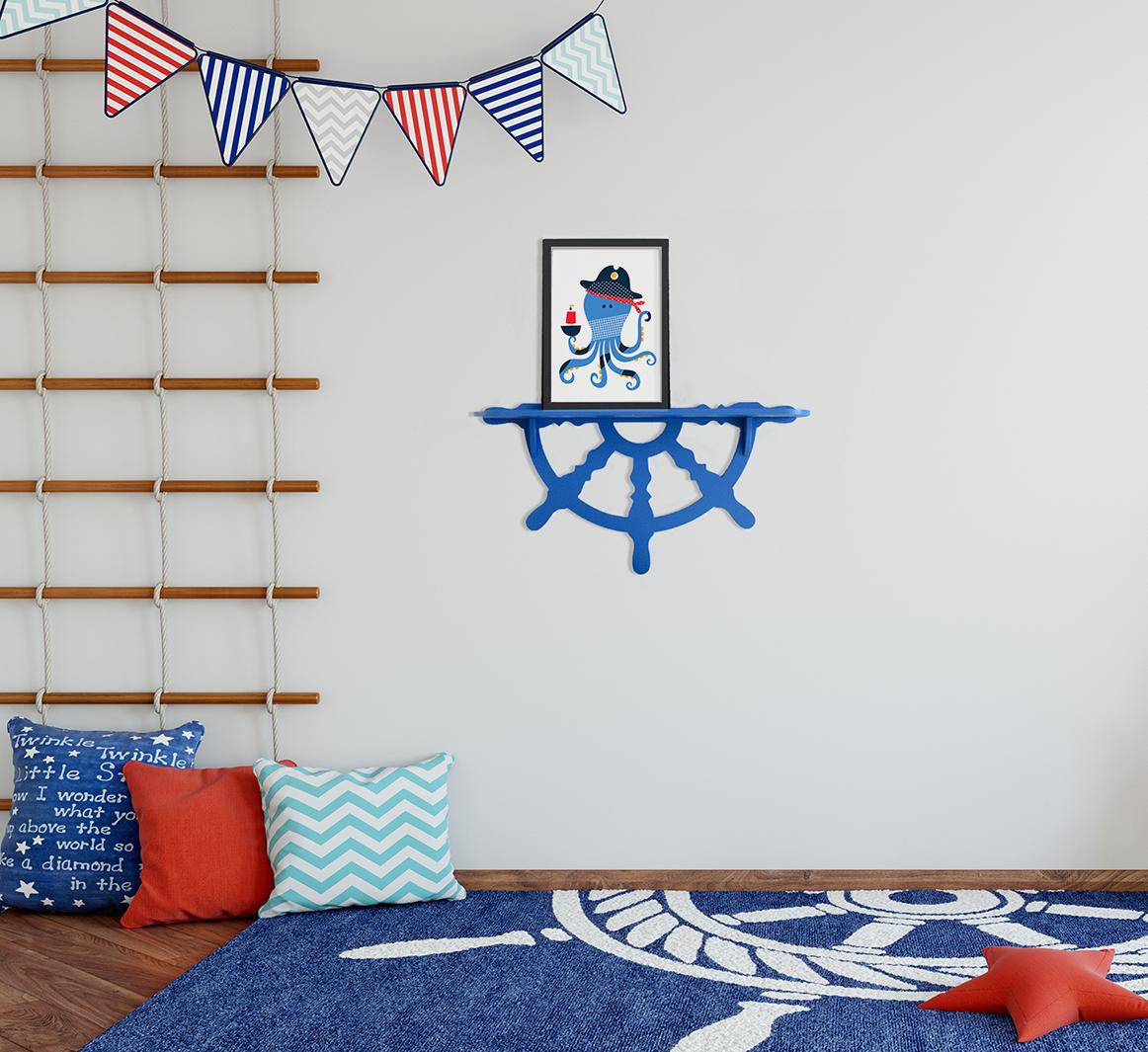 Półka Dla Dzieci Ster W Kolorze Niebieskim